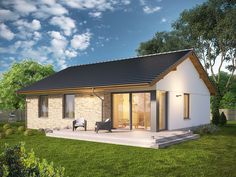 Projekt domu Karmelek - widok 1 Modern Bungalow House, Tiny House, Compact House, Stucco Homes, Home Photo, House Front, Home Fashion, Gazebo, House Plans