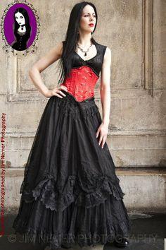 Long Black Velvet and Net Vampire Dress