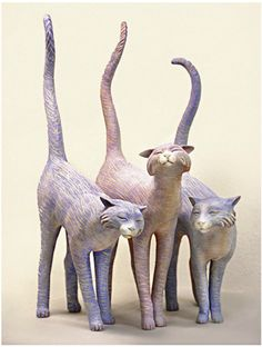 """Long Tail Toms"" (clay, encaustic): Kelley S. Hestir"
