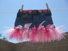 DIY  Denim Tutu Skirt - Made From Recycled Jeans.  what a cute idea for jeans that have gotten too short