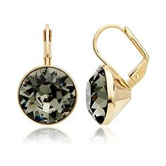 MYJS Bella Drop Earrings Gold Plated with Black Diamond Swarovski Crystals Exclusive Limited Edition *** Learn more by visiting the image link.