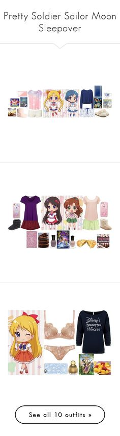 """""""Pretty Soldier Sailor Moon Sleepover"""" by becka-ramey ❤ liked on Polyvore featuring Heidi Klum Intimates, Helmut Lang, H&M, UGG, Nintendo, Liberty, Lenox, Free People, Steve Madden and American Vintage"""