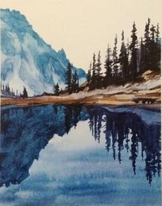 Lake of the Angels, Olympic National Park. Enlarged print from original watercolor. Image: 9 X 12 With border X 11 Watercolor Art Landscape, Landscape Prints, Watercolor Print, Watercolor Illustration, Landscape Art, Landscape Paintings, Watercolor Paintings, Contemporary Landscape, Painting Art