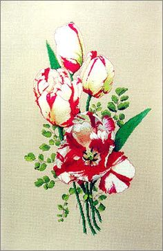 Cross Stitch Craze: Tulip Bouquets Cross Stitch Parrot Tulips in Red and White