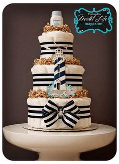 Nautical Sailor Baby Boutique Style Diaper Cake by laurawopp baby-2