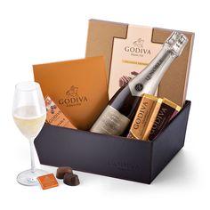Godiva Leather Hamper with Lenoble Champagne & Chocolates