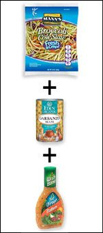 Hungry Girl - Thursday Newsletter  Broccoli Coleslaw+Garbanso Beans+   Fat Free Italian Dressing=Easy Beant Italian Slaw