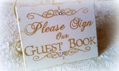 Wedding Sign Sparkly Guest Book Sign Gold by HickoryandLace