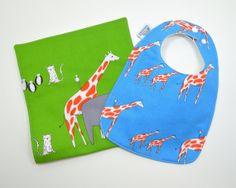 Baby bib and burp cloth set / Modern Animal bib by TextileTrolley, $18.00