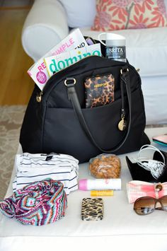 Organized Carry On with a bag suggested to make packing to carry items on the plane easier. #travel
