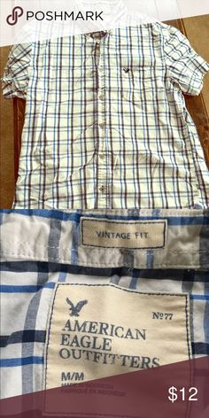 American Eagle Plaid Button Down Short Sleeve Mens size Medium, vintage fit, blue plaid button down shirt, good condition! It's wrinkly in the picture because it was folded in a drawer, only worn a few times! Smoke free home❗️open to offers😘 American Eagle Outfitters Shirts Casual Button Down Shirts
