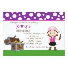 Custom Pink Pirate Girl Birthday Party Invite