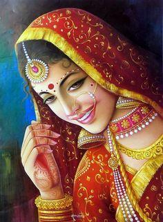 40 Beautiful And Interesting Indian Paintings - Bored Art Rajasthani Painting, Rajasthani Art, Indian Women Painting, Indian Art Paintings, Mehndi Art Designs, Indian Folk Art, Madhubani Painting, India Art, Krishna Art
