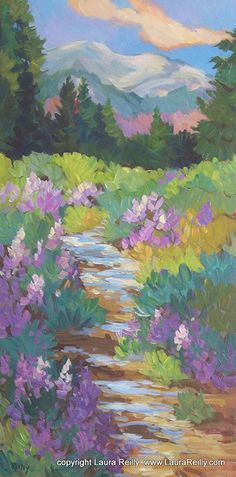 Creekside Colors by Laura Reilly Acrylic ~ 24 x 12