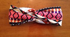 Coral/orange/purple/black Aztec knotted band by KnottyBandsCo
