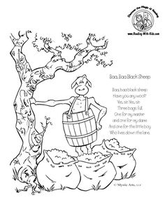 nursery rhymes coloring pages w/ cute graphics ~ maybe