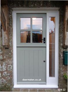 Bespoke Doors Stable Door with 4 Panes made from Oak Cottage Front Doors, Cottage Door, House Front Door, Cottage Exterior, Small Garage Door, Garage Door Design, House Front Design, External Wooden Doors, Front House Landscaping