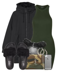 """""""Untitled #660"""" by b-elkstone ❤ liked on Polyvore featuring Monki, Topshop, Yves Saint Laurent, Puma and Haze"""