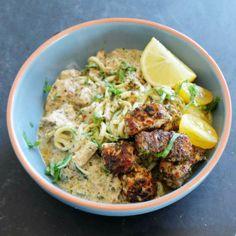 Coconut broccoli soup / Coconut Salmon Zucchini Noodles