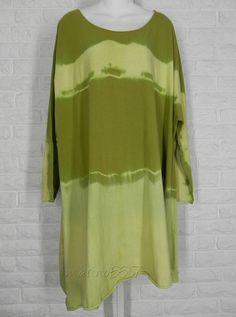 KL Playwear Krista Larson Tie Dye Asymmetrical Tunic Split Pea NWT One Size #KLPlaywearKristaLarson #Tunic #Casual