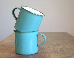 Vintage Turquoise Enamelware Camping Mugs  Set of by TheFancyLamb