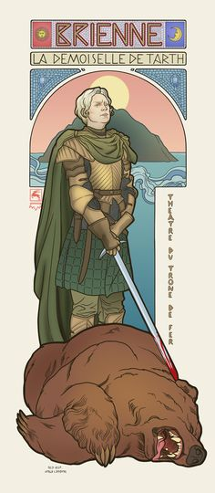 Game of Thrones, Brienne. Elin Jonsson's Game of Thrones art nouveau illustrations in the style of Alphonse Mucha Alphonse Mucha, Valar Morghulis, Art Game Of Thrones, Game Of Thrones Brienne, Game Of Thrones Comic, Game Of Thrones Poster, Fan Art, Art Magique, Brienne Of Tarth
