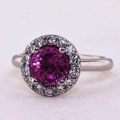 Beautiful Custom Designed Halo Diamond Ring with Premium Pink Sri Lankan Sapphire! Bling Wedding, Wedding Rings, Saphire Ring, Custom Jewelry Design, Custom Design, Quality Diamonds, Brilliant Earth, Halo Diamond, Colored Diamonds