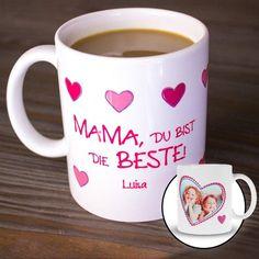 """Diese personalisierte Fototasse """"Mama, Du bist die Beste"""" ist ein liebevolles Geschenk zum Muttertag, Frauentag oder Geburtstag. Mutti wird sich freuen."""