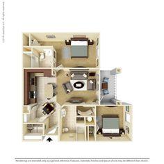 2 Bedroom 1068 Sq Ft B1-2 Ooltewah, TN Integra Preserve Floor Plans   Apartments in Ooltewah, TN - Floor Plans