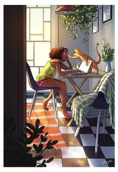 Beautiful art illustrations by Yaoyao Ma Van As Art Shared by Veri Apriyatno Artist . Black Girl Art, Black Women Art, Black Art, Art Girl, Magic Art, Aesthetic Art, Belle Photo, Cat Art, Cartoon Art