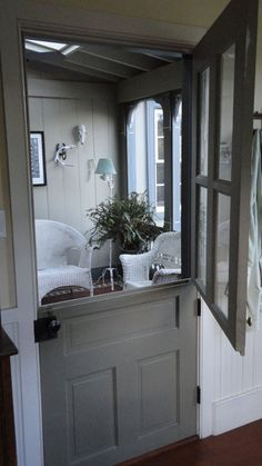 Dutch door in gray. I love a Dutch door, so quaint and practical at the same time. Half Doors, Windows And Doors, Porches, My Dream Home, Home Remodeling, Kitchen Remodel, Sweet Home, Ramen, New Homes