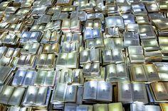 Installation of 10,000 illuminated books