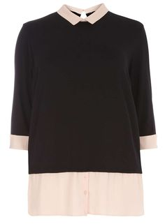 DP Curve Black and Blush 2-in-1 Long Sleeve Top - Dorothy Perkins