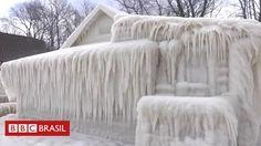 Onda de frio deixa casa em Nova York totalmente coberta de gelo - BBC Brasil