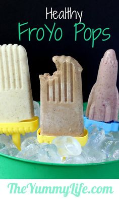 Healthy FroYo Pops. 5 creamy & delicious flavors, only 100 calories! (chocolate, pineapple, mocha, cherry, & peanut butter)
