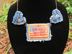Necklace Recycled Levi's Denim  Patriotic by daringmisslassiter, $25.00