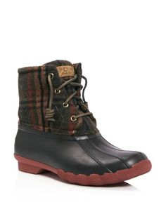 Sperry Saltwater Plaid Lace Up Rain Boots Shoes - Bloomingdale's Snow Boots, Rain Boots, Winter Boots, Muck Boots, Cowgirl Boots, Sock Shoes, Cute Shoes, Bootfahren Outfit, Outfit Ideas