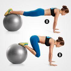 Swiss Ball Jackknife http://www.womenshealthmag.com/fitness/lower-belly-exercises/slide/5
