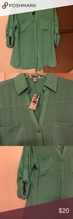Express The Portofino Top NWT Express Portofino Top in Dark Mint! Size M. In very good condition. A tiny thread near right front pocket and tiny black mark on the inside. Labels have been marked in black to prevent returns. Express Tops Blouses