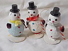 3 Vintage Snowman Ornaments Japan