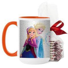 Disney Frozen Monogram Mug, Orange, with Ghirardelli Peppermint Bark, 15 oz, White
