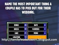 Family Feud Game Questions, Game Ideas, Party Ideas, Facebook Engagement Posts, Bridal Shower Questions, Dinner Games, Xmas Theme, Family Picnic, Group Games