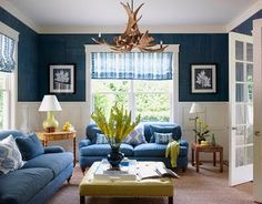wainscoting blue/white, blue covers on couches