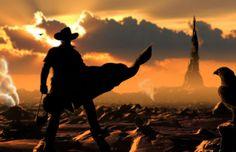 """Ilustração que demonstra a mistura entre o """"velho oeste"""" e a ambientação…"""
