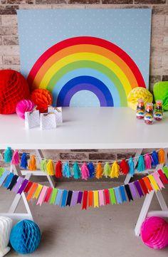 FREE Printable Rainbow Backdrop By Lindi Haws Of 1st Birthday ThemesRainbow