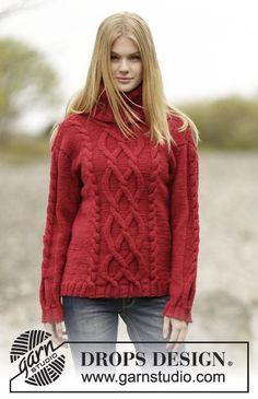 Strikket DROPS genser i Alaska med fletter og høy hals. Gratis oppskrifter fra DROPS Design.