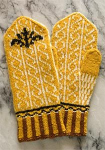 Knitted mittens with pattern from Allerum church