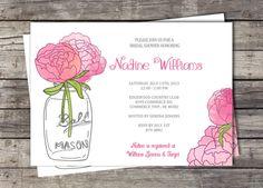 Peonies Mason Jar Bridal Shower Invitation by PinkSugarPartyShop