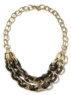 gold and tortoise link necklace