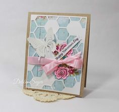 Valentine Day card using @therubbercafe stamps, LemonCraft papers and SU hexagon die